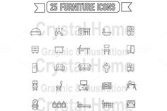 Flat line silhouette furniture icon  @creativework247