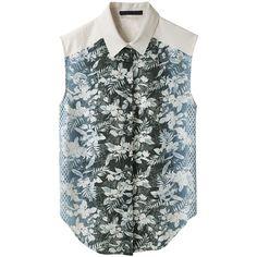 Alexander Wang Ombré Botanical Shirt ($298) ❤ liked on Polyvore featuring tops, blouses, shirts, tank tops, print shirts, sleeveless button down shirt, sleeveless button up shirt, flower print shirt and shirt blouse