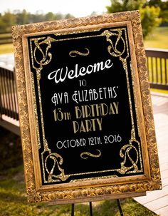 Welcome Great Gatsby Sign- Welcome Sign - Gold - Party - Wedding Sign-Birthday Sign Art Dec Great Gatsby Party, Gatsby Themed Party, Flapper Party, Masquerade Party, Flapper Style, Gatsby Style, 21st Party, 50th Birthday Party, Birthday Signs