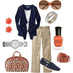 Navy and Coral, created by Leah Brunck on Polyvore!