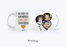 """Taza personalizada de un hijo a su súper padre con la frase """"No todos los superhéroes usan capa y tienen poderes"""" + Imágenes #taza #díadelpadre #felicidadespapa"""