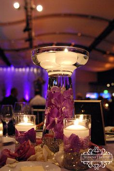 Dinner Table Centerpieces - Submerged Flowers Floating Candles Photo _ Georgia Aquarium Wedding Reception Atlanta ballroom wedding