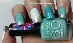 """How about a little #Mintgreen! I saw this on """"I Feel Polished"""" as I was going through ellagee's store. I thought it was just what I needed today! I had to improvise with polishes that I already owned, so I went with Rimmel 60 """"Mintilicious"""" and the white and glitter are both from Wet n Wild, """"Whipped Topping"""" and """"I Saw A Comet"""".. This is a fun manicure! Thanks for the inspiration, I Feel Polished... I Love it!! #notd #prettynails #manicure"""