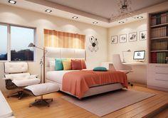 Inspiração para quarto de adolescente! A iluminação e o espaço para estudo são os destaques e o capricho fica por conta da combinação de cores, da manta ao papel de parede da cabeceira.