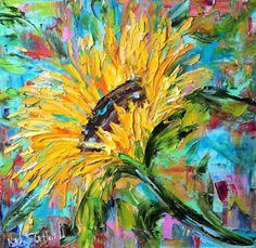 Palette Knife Painters: Original oil painting Sunflower Sunshine palette k...