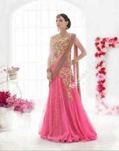 Sarees - Pink, Light Brown, Golden Bridal Collections - Resplendent Bridal Designer Wedding Special Collections / Wedding / Party / Special Occasions / Festival - Boutique4India Inc.