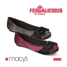 Getting dressed up but not sure your feet can handle a heel all night long? Round out your look with satin style in the Fergalicious by Fergie ADDIE flats from Macy's!