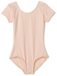 Capezio Little Girls' Team Basic Short Sleeve Leotard,Ballet Pink,S (4-6) Capezio