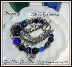 Thin blue line bracelet Police Wife bracelet by TheEandGCollection. Find us on FB: www.facebook.com/TheEandGCollection