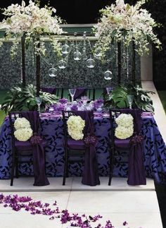 Purple chair covers perfect for a Chocolate Factory' themed wedding. So Dramatic. Centerpiece Decorations, Decoration Table, Reception Decorations, Event Decor, Baptism Centerpieces, Reception Seating, Wedding Chairs, Wedding Table, Diy Wedding