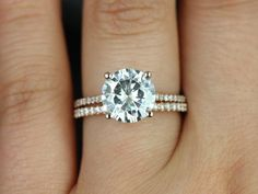 Eloise Medio Size 14kt Rose Gold FB Moissanite and by RosadosBox, $2625.00 - I love this. Moissanite is perfect and a clear stone is the best.