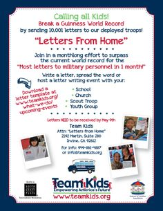 Help Team Kids, Inc. and the Festival of Children Foundation set a new Guinness World Record for letters of thanks to troops! This is a great activity for your family, church, school, scout troop or youth group -- and all of the letters sent in will be donated to Operation Gratitude for our care packages! Deadline: May 9! For more information, please visit http://www.teamkids.org/
