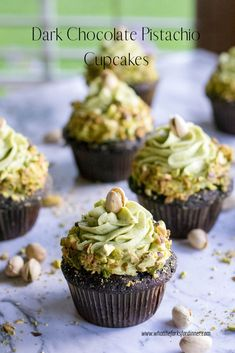 Moist, dark chocolate cupcakes with a unique pistachio paste frosting. Pretty and delicious! Moist, dark chocolate cupcakes with a unique pistachio paste frosting. Pretty and delicious! Easy Cheesecake Recipes, Easy Cookie Recipes, Unique Cupcake Recipes, Cupcake Ideas, Sweet Recipes, Baking Cupcakes, Cupcake Cakes, Healthy Cupcakes, Delicious Cupcakes