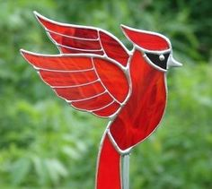 Stained Glass Red Cardinal Garden Stake