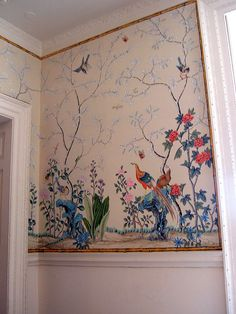 In the dining room, Marble Hill House Hand Painted Wallpaper, Painting Wallpaper, Mural Painting, Mural Art, Wall Wallpaper, Wall Murals, Chinoiserie Wallpaper, Chinoiserie Chic, Marble Hill House