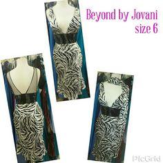 Size 6  Beyond by Jovani black and white tiger Size 6 Beyond by Jovani beaded waist with shawl black white tiger Jovani Dresses Midi