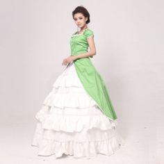 Short Sleeve Floor-length Green White Jazz Wool Princess Lolita Dress