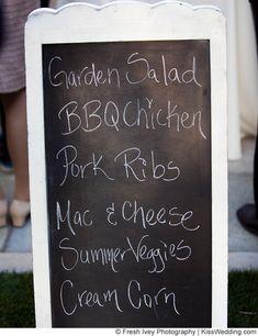 Idea: Keep the menu casual for an affordable, fun backyard wedding reception. PLUS, a fun way to present the wedding menu!