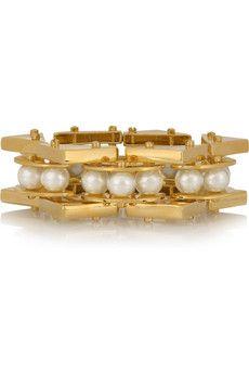 Lele Sadoughi Pearl Satellite gold-plated faux pearl bracelet | NET-A-PORTER
