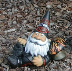 Harley Fat Boy Gnome with Flames by Harley Davidson- Fun little garden gnome.......Gotta find this for my dad!