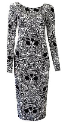 Skully Style Rock n Roll Midi Bodycon Dress Def Planet defplanet.com