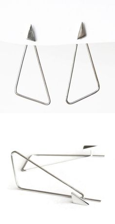 Edith Toledano - An interpretation of the ear jacket earrings. Read more at https://www.etsy.com/il-en/listing/462150342/sterling-silver-triangle-hoop-post?ref=shop_home_active_1