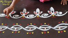 Simple Rangoli Border Designs, Indian Rangoli Designs, Rangoli Borders, Small Rangoli Design, Simple Borders, Rangoli Designs With Dots, Rangoli Designs Images, Rangoli With Dots, Beautiful Rangoli Designs
