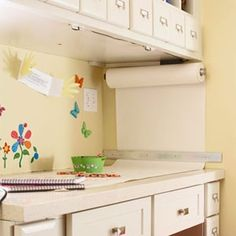 white butcher paper dispenser for kids art projects
