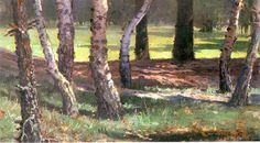 Władysław Podkowiński - landscape with trees oil, carton