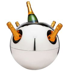 Impressive Spherical Champagne Cooler by Teghini Italy, circa 1970 Champagne Cooler, Champagne Buckets, Cooler Stand, Wine And Liquor, Gadgets And Gizmos, Bubbles, Diy Crafts, Italy, Entertaining