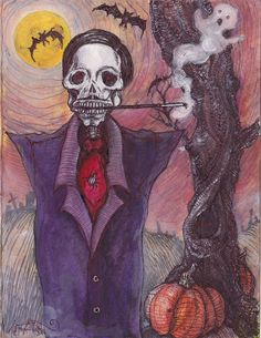 The Halloween Man, Portrait illustration of John Waters as a skeleton by Leigh Anita