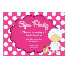 Cute Spa Day Birthday Party Invitation