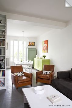 bonnesoeurs decoration maison familiale 14 salon fauteuil cuir vintage