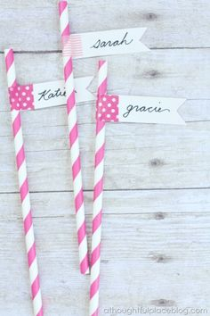 Washi Tape flags! Identifies drinks. Messages on cakes!