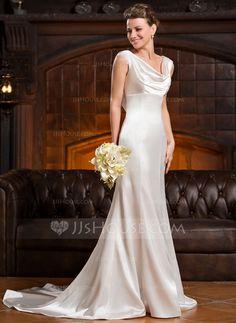 Trompete/Sereia Capuz Cauda de sereia Charmeuse Vestido de noiva com Pregueado Renda Bordado Lantejoulas (002056232)