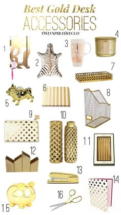 Best Gold Desk Accessories by Twinspiration: http://twinspiration.co/best-gold-desk-accessories/