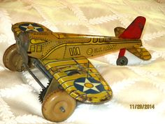 """1930s MARX U.S.ARMY FIGHTER AIRPLANE-W/UP -TIN LITHO-8"""" WINGSPAN-VINTAGE TOY #Marx"""
