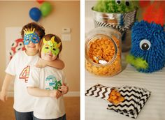 Monster Birthday Party Monster party Monster birthday party on Kara's Party Ideas- Monster suckers available in Kara's Shop- www. 2nd Birthday Party Themes, Monster Birthday Parties, Monster Party, Birthday Ideas, Monster Mash, Party Face Masks, Mask Party, Little Monsters, Alien Party