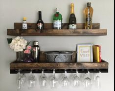 Rustic, Beachy & Color Stained Handmade Wood Home Decor by DistressedMeNot Wine Rack Shelf, Wine Glass Shelf, Bar Shelves, Wine Shelves, Wine Rack Wall, Wine Glass Holder, Wine Bottle Holders, Wall Mounted Shelves, Wooden Shelves