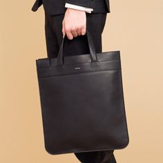 Paul Smith Men's Chocolate Leather Flat Tote Bag