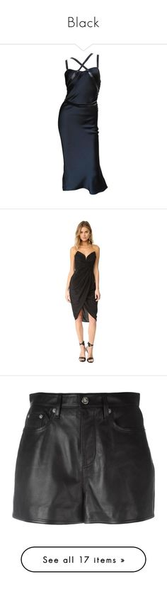 """""""Black"""" by mayaem ❤ liked on Polyvore featuring dresses, black dress, short dresses, black, strappy dress, strap dress, silk wrap dress, leather flare dress, silk dress and short wrap dress"""