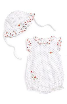 Kissy Kissy 'Ladybug Garden' Bubble Romper & Sun Hat (Baby Girls) available at #Nordstrom
