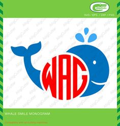 Whale Smile Monogram Frame SVG DXF PNG eps animal by Alligcutter