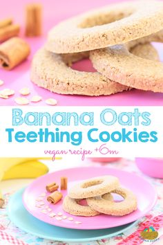 Banana Oat Cinnamon teething cookies, vegan and gluten free recipe for babies +6M Easy to make, easy to handle by little hands.