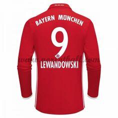 Billige Fotballdrakter Bayern Munich 2016-17 Lewandowski 9 Hjemme Draktsett Langermet
