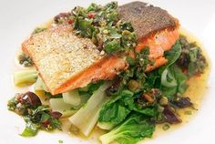 Crispy Salmon with Steamed Bok Choy and Basil-Caper Relish — Recipe from Serious Eats