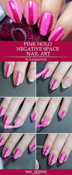 Pink Holo Negative Space Nail Art