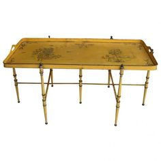 Italy, 1930-1940 Charming yellow tole painted tray on faux-bamboo yellow