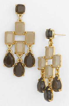 Fun, neutral colored chandelier earrings to wear to the office