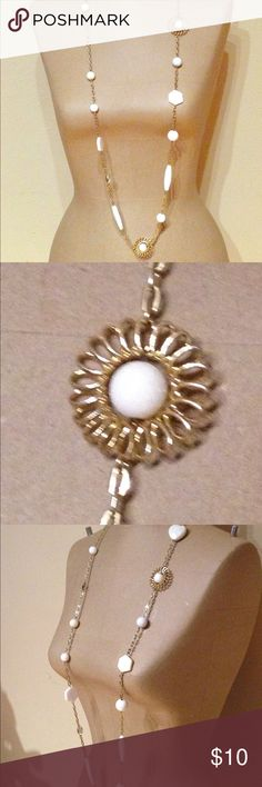 Gold and white long necklace This is super cute worn long or doubled- you may be able to triple it, but I have a big head lol. A fun piece that is a great addition to your jewelry wardrobe! Francesca's Collections Jewelry Necklaces